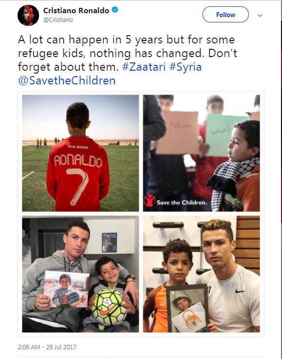 رسالة رونالدو لأطفال سوريا في 2017