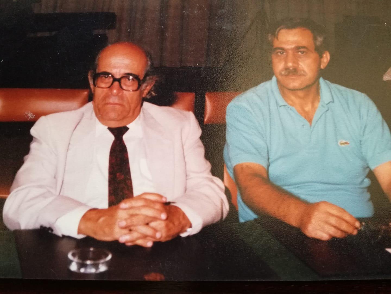 صورة لإدوار الخراط مع الروائي الأردني إلياس فركوح في ملتقى القصة القصيرة بعمان عام 1993