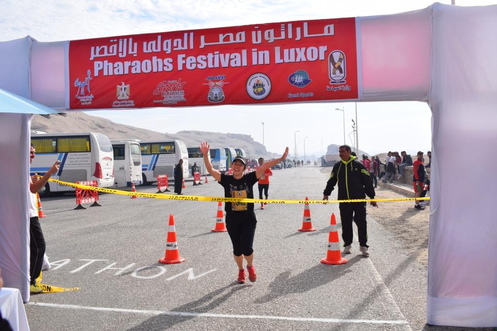 لحظات الوصول لخط النهاية بماراثون مصر الدولي بالأقص (2)