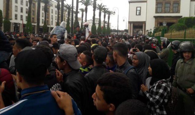 جانب من وقفة طلاب المغرب الاحتجاجية