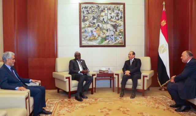الرئيس السيسى ورئيس مفوضية الاتحاد الأفريقي موسى فقي