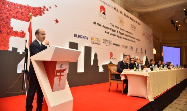 عمرو نصار يلقي كلمته بالملتقى المصري الياباني