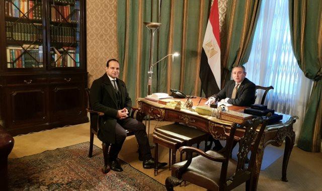 """السفير المصرى فى بريطانيا وأحمد يعقوب محرر """"اليوم السابع"""" فى لندن"""