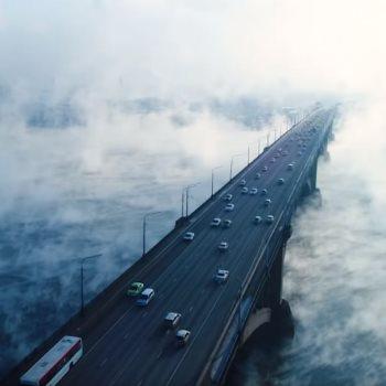 ظاهرة طبيعية مدهشة فوق نهر ينسى بروسيا