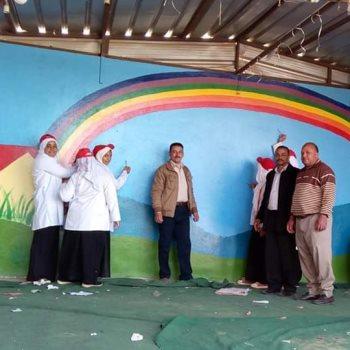 جانب من الرسم على جدران المدارس
