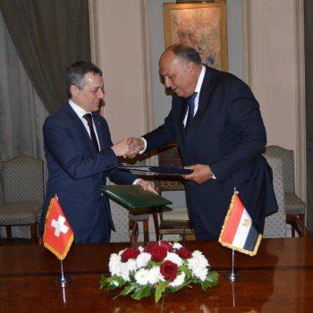 وزيرا الخارجيه المصري والسويسري
