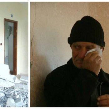 مسن فلسطيني يبكي بعد هدم منزله