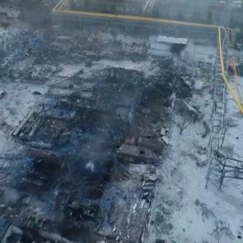 جانب من اثار انفجار مصنع غاز فى الصين