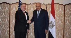 سامح شكري وزير الخارجية مع وزير الخارجية الأمريكي مايك بومبيو