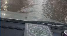 تراكم مياه الأمطار فى شارع قناة السويس