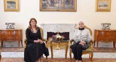 لقاء السيدة انتصار السيسى قرينة الرئيس عبد الفتاح السيسى، وقرينة الرئيس البلغارى
