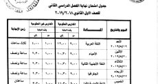 جدول امتحانات الصف الاول الثانوى 2019