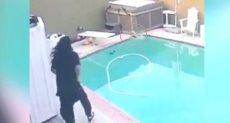 الرجل يحاول إنقاذ كلبه
