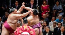 ترامب ورئيس وزراء اليابان يشاهدان مصراعة السومو