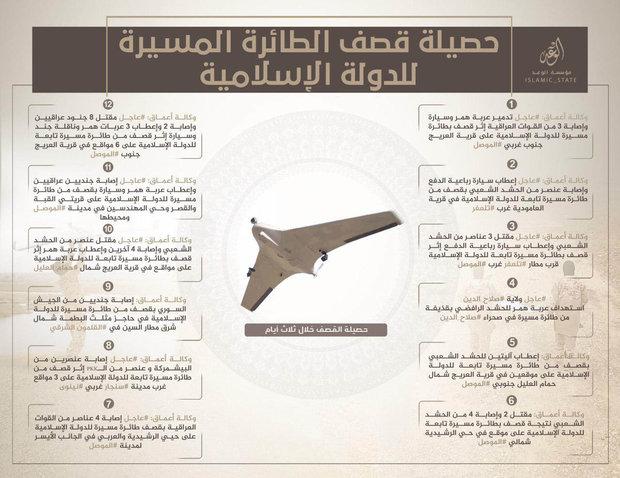 أحد المنشورات التي توضح عمليات طائرات بدون طيار لداعش