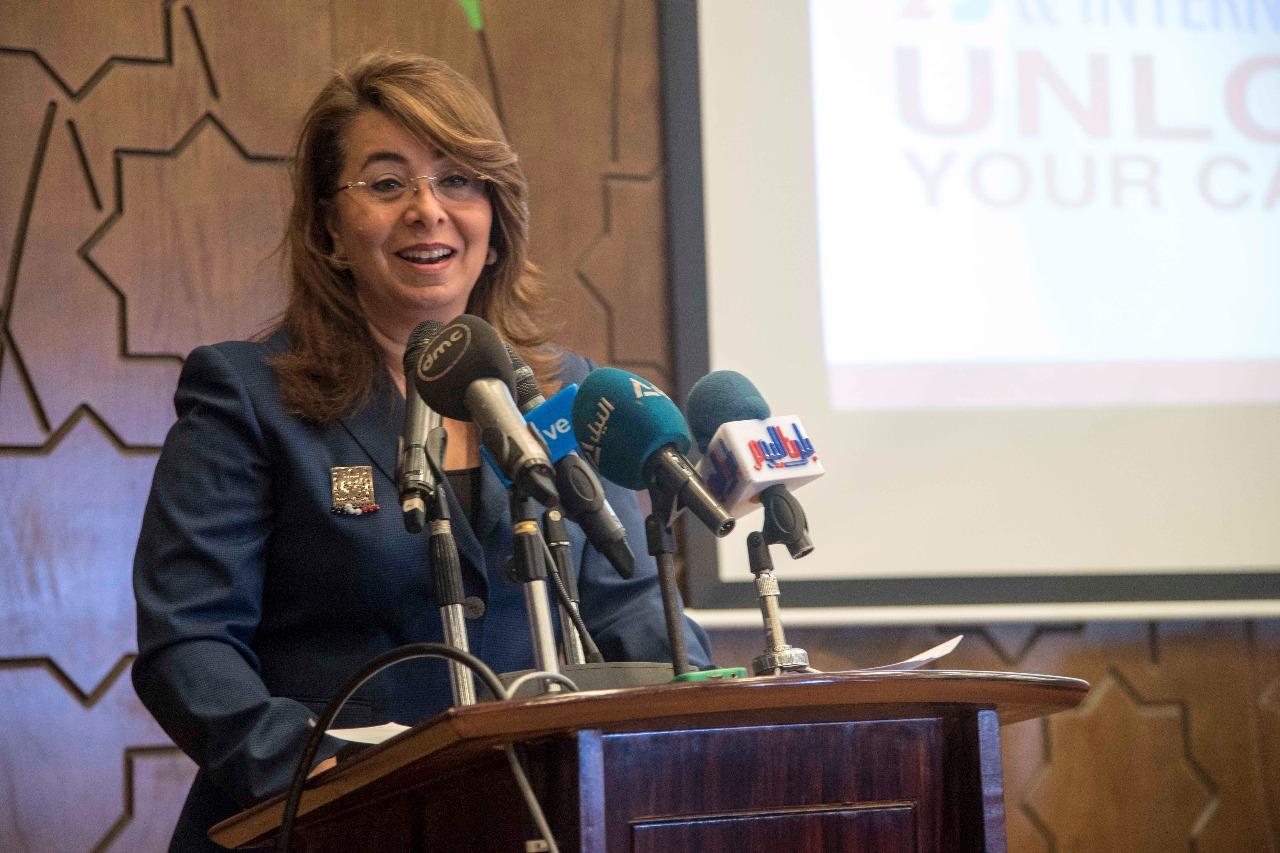 وزيرة التضامن أثناء افتتاح ملتقى التشغيل والتدريب