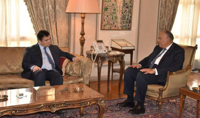وزير الخارجية مع نظيره الأوكرانى