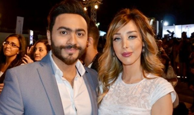 تامر حسني وزوجته بسمة بوسيل