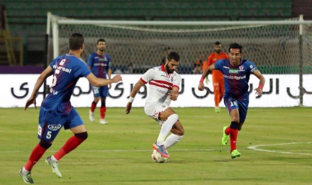 الزمالك ضد بترو أتلتيكو الفريق الأنجولى يحرز هدف التقدم