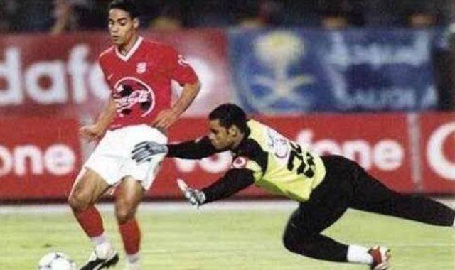 خالد بيبو ومحمد عبد المنصف خلال المباراة الشهيرة