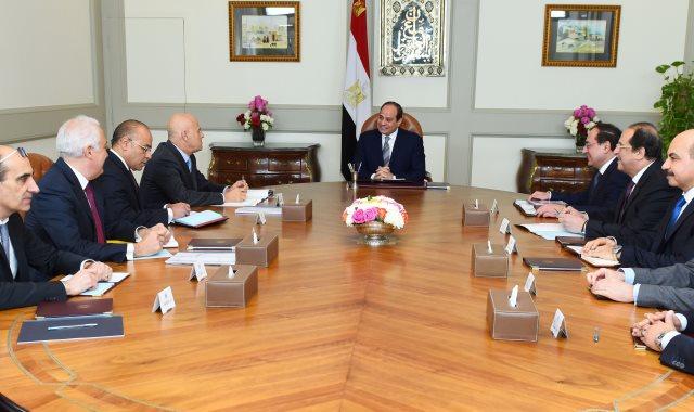 """جانب من استقبال الرئيس عبد الفتاح السيسى للرئيس التنفيذي لشركة """"إيني"""" الإيطالية للبترول"""