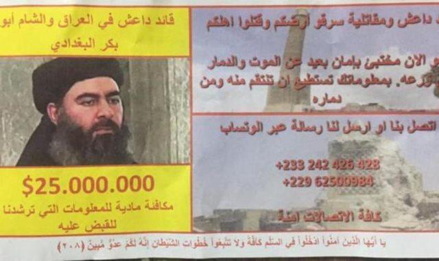 منشور التحالف الدولي يرصد مكافأة مالية لمن يبلغ عن أبو بكر البغدادي