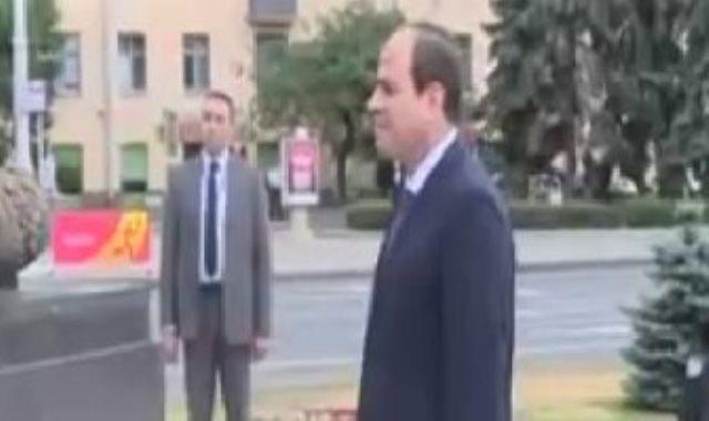 الرئيس عبدالفتاح السيسى يصل إلى ساحة النصب التذكارى بالعاصمة البيلاروسية