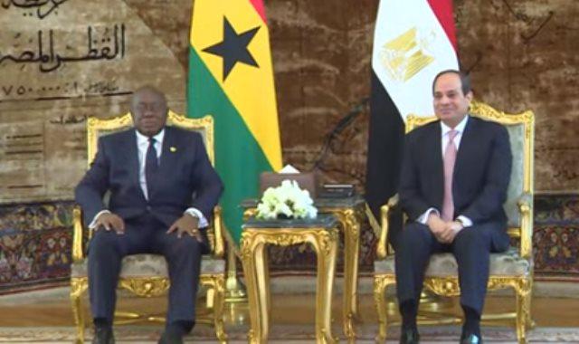 جانب من استقبال الرئيس السيسي رئيس غانا