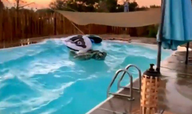 زلزال كاليفورنيا يتسبب فى أمواج بحمام سباحة
