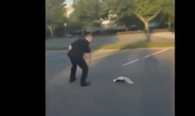 شرطى يساعد حيوان