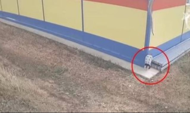 الأم تترك الطفل فى الكيس خلف المحل