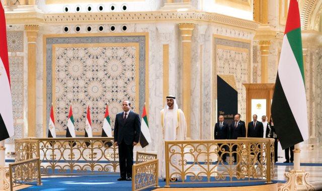 الرئيس عبد الفتاح السيسي والشيخ محمد بن زايد، ولي عهد أبو ظبي