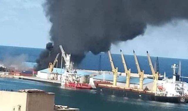 السفينة التركية بعد استهدافها