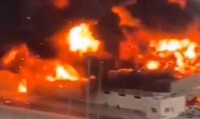 حريق هائل بسوق عجمان الشعبي