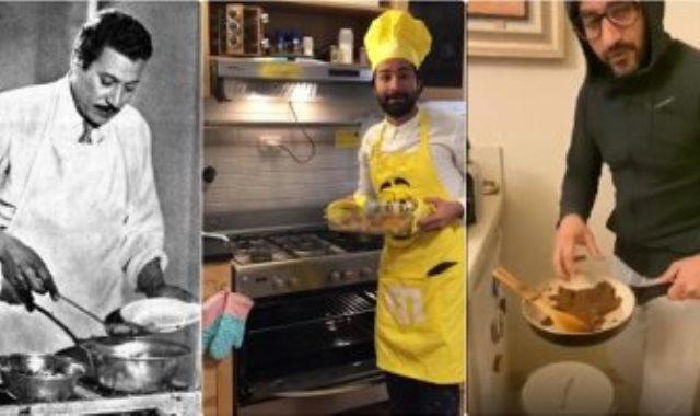 الفنانين عماد حمدى وأحمد حلمى وأحمد حاتم فى المطبخ