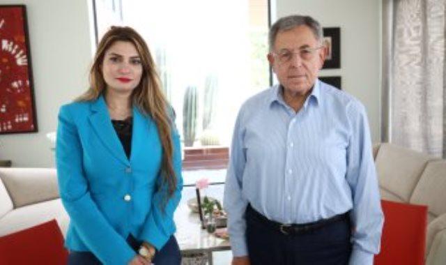 رئيس وزراء لبنان الأسبق فؤاد السنيورة ومراسلة اليوم السابع