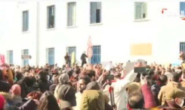 التظاهرات فى محيط البرلمان التونسى