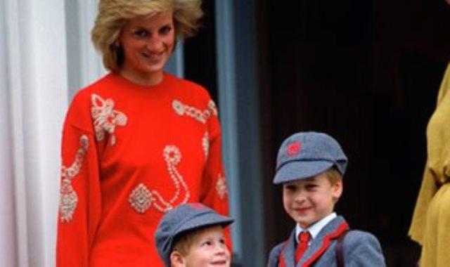 الأميرة ديانا و هاري ووليام في طفولتهما