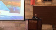 """إبراهيم عشماوي خلال """"مؤتمر التطوير العقاري"""" بالجامعة الأمريكية"""