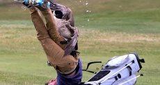 طائر يهاجم لاعب جولف في أمريكا