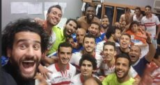 فريق الزمالك يحتفلون بالفوز على الأهلي في الدوري