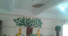 اثار سقوط سقف قاعة الفصل