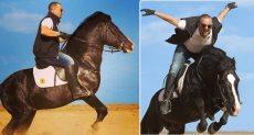 أحمد السقا يستعرض مهارته في ركوب الخيل