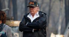 ترامب الرئيس الأمريكي في موقع الحرائق