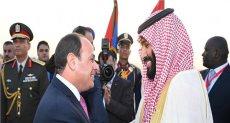 استقبل مساء اليوم بمطار القاهرة، الأمير محمد بن سلمان بن عبد العزيز آل سعود ولى عهد المملكة العربية السعودية