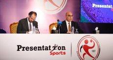 جانب من توقيع اتحاد كرة اليد على عقد رعاية مع شركة بريزنتيشن