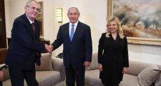 رئيس الوزراء الإسرائيلي بنيامين نتنياهو والرئيس التشيكي ميلوش زيمان
