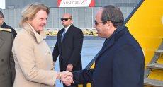 لحظة وصول الرئيس السيسي إلي فيينا