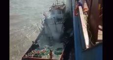 جانب من انفجار القارب