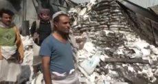 تدمير المواد الإغاثية باليمن